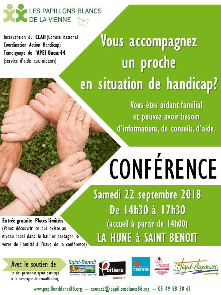 affiche conférence pour les aidants le 22 septembre 2017 de 14H30 à 17H00 à la HUNE à St Benoit (86)